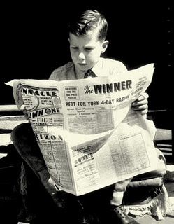 1948 - Thirteen year old Lester Piggott studies form